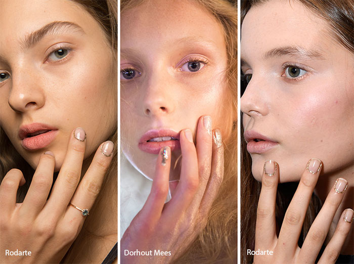 Spring/ Summer 2017 Nail Trends: Glittering Nail Polish On The Cuticles