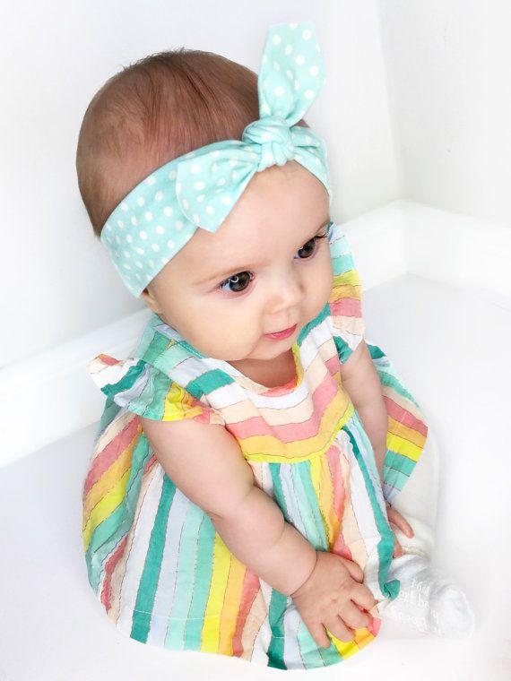 Look - Blue Baby Headband   Baby Shower Gift   Blue Polka Dot ... b4e24739cf4