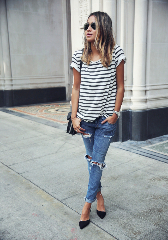 stripes and denim sincerely jules How to Make Ripped Jeans in 5 Easy Steps