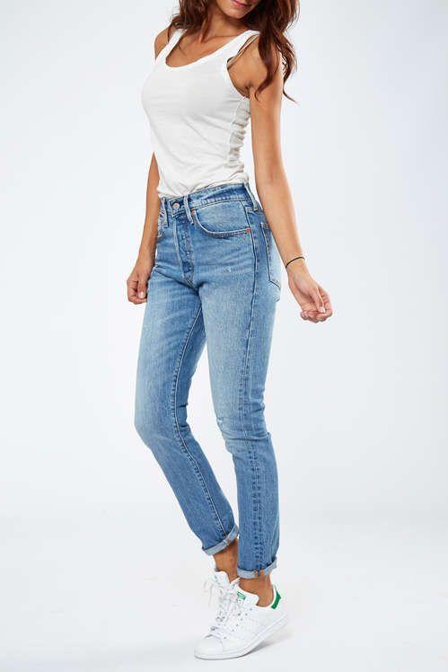 Femme Levi's Skinny Jeans Fit Look 501 Destroy Bleu Used xFqzgx4n8P