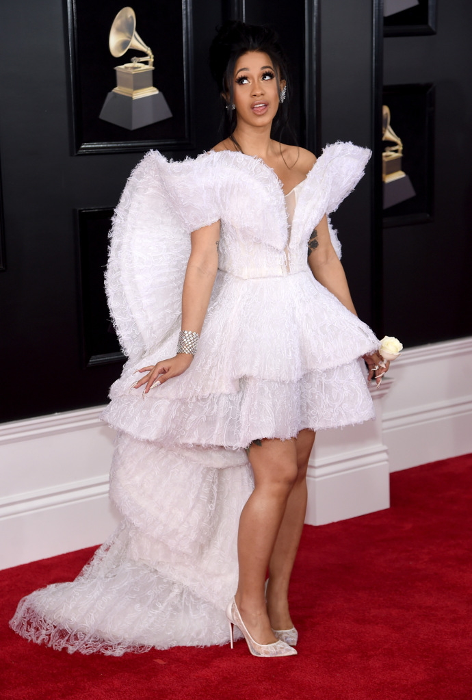 card b 2018 grammys dress front Offset Was Caught Thirsting Over Cardi Bs Grammys Performance & the Video Is a Must See