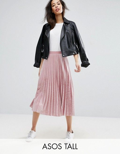 d37aa75be Look - ASOS TALL Pleated Midi Skirt in pink Velvet... - Flashmode ...