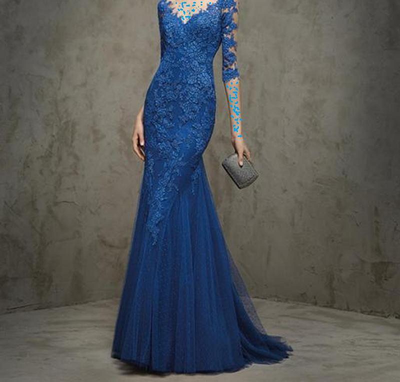فستان أزرق ضيق