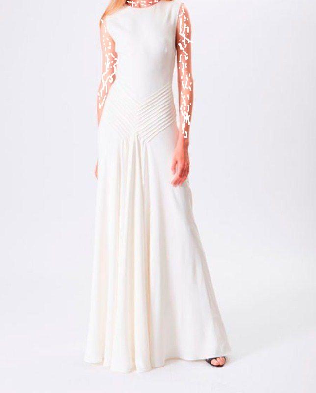 فستان بسيط باللون الأبيض