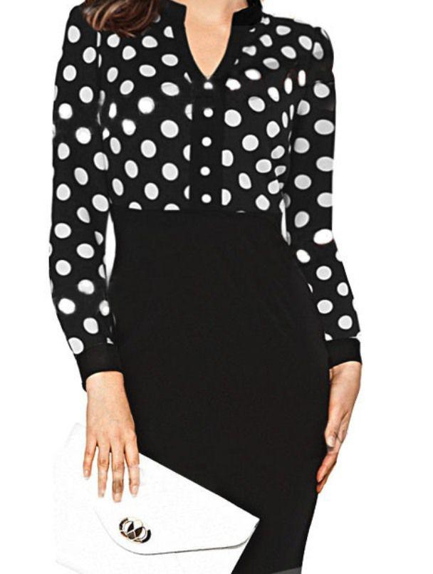 فستان أسود منقط